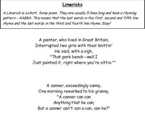how to write a limerick poem template limericks a collection of poems and writing templates