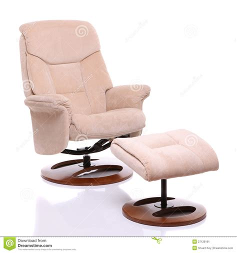 Suede Recliner Chair by Suede Fabric Recliner Chair With Footstool Stock Image