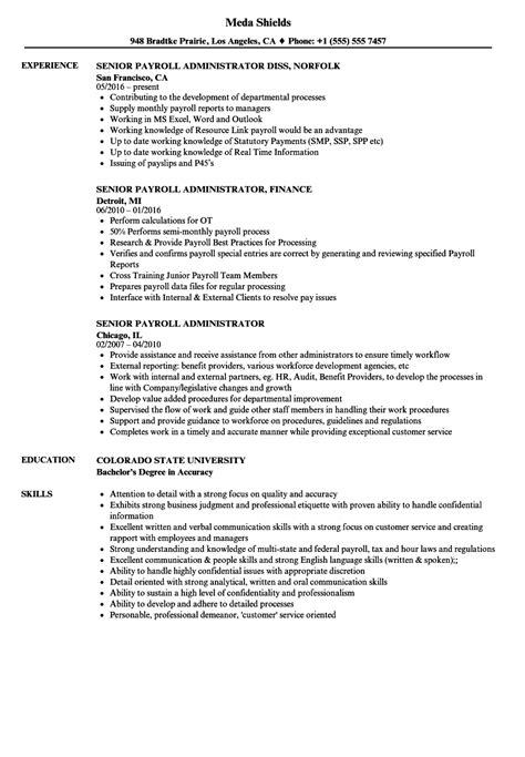 payroll administrator description payroll administrator resume resume ideas