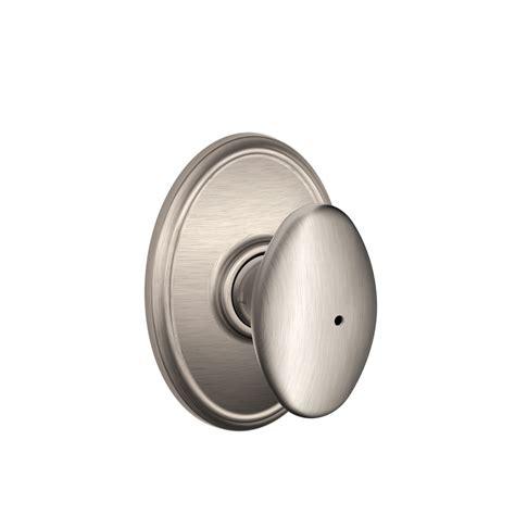 Privacy Door Knob by Shop Schlage Siena Satin Nickel Egg Push Button Lock