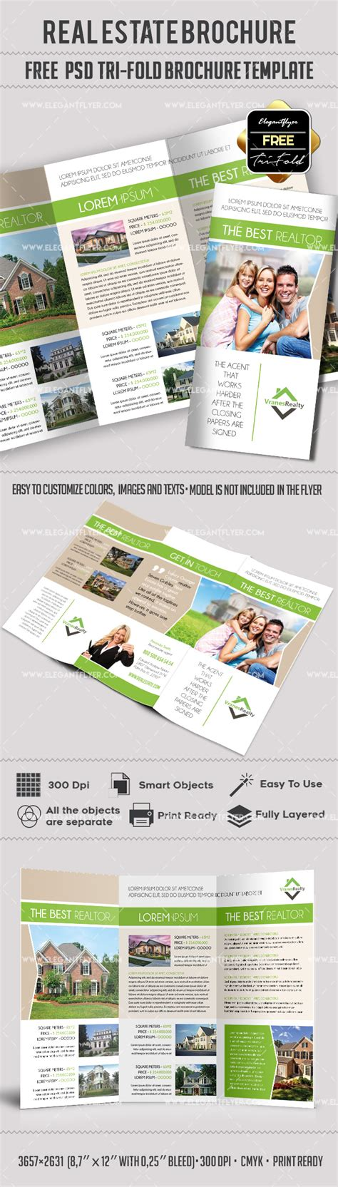 real estate brochure templates psd free free real estate trifold brochure template in psd by elegantflyer