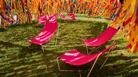 windswept ribbons and giant cocoon among installations at quebec garden festival dezeen