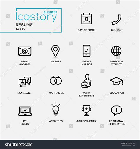 Search Dob Set Of Modern Vector Plain Simple Thin Line Design Icons And Pictograms For Your