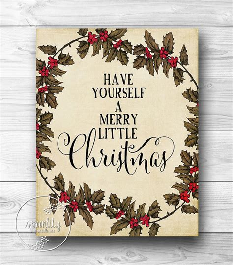 printable holiday art merry little christmas wall art typography print by spoonlily