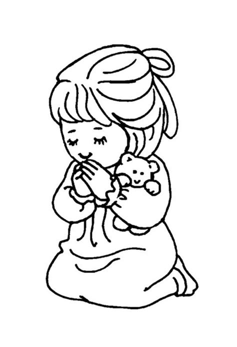 little girl praying coloring page little girl and teddy bear doing lords prayer coloring