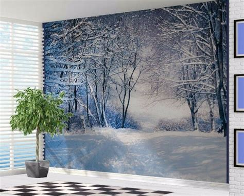 beautiful winter forest scene snow trees wallpaper wall