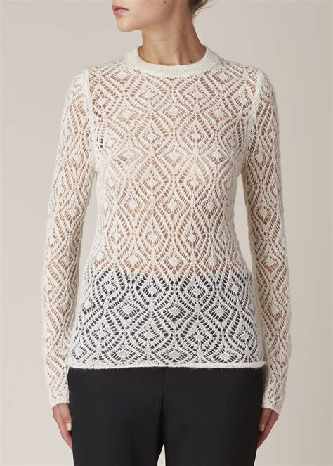 Sweater 10179760 White Knitting lyst comme des gar 231 ons white wool lace knit sweater in white