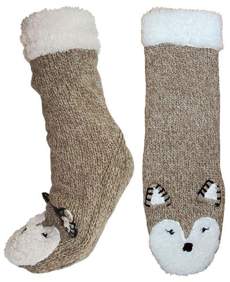 animal slipper socks womens sherpa fleece lined animal booties