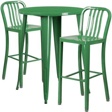 Indoor Bar Table 30 Green Metal Indoor Outdoor Bar Table Set With 2 Vertical Slat Back Stools