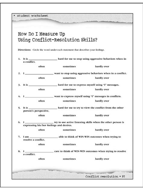 Conflict Resolution Worksheet by Conflict Resolution Worksheets The Best And Most