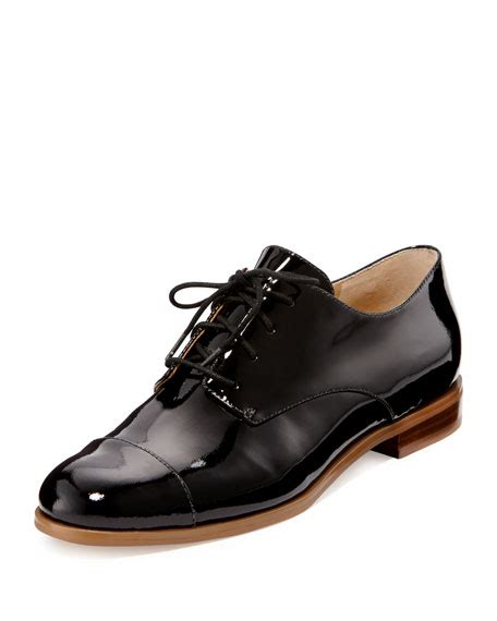 michael kors oxford shoes michael michael kors patent cap toe oxford black