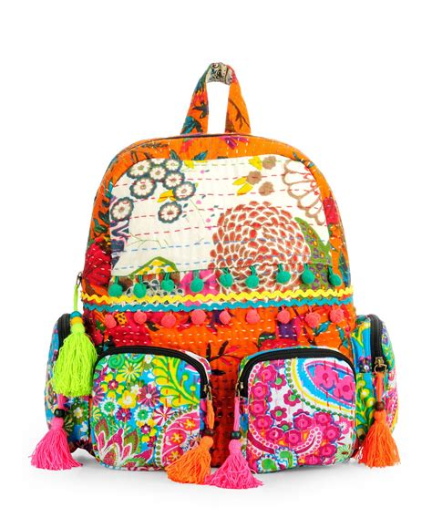 Patchwork Backpack - patchwork fabric backpack in kantha work htbp 141 backpacks