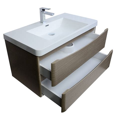 merida 35 5 inch wall mount bathroom vanity in light pine