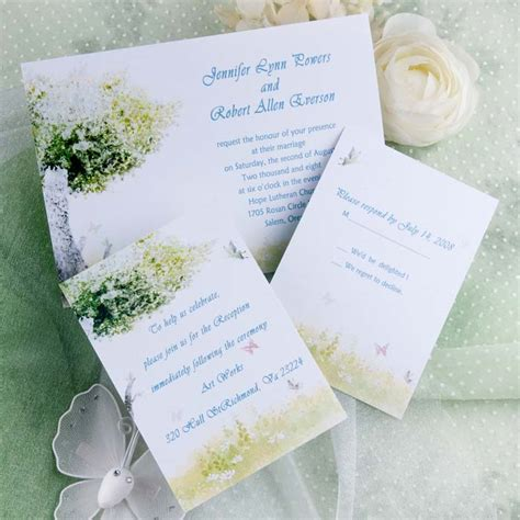 Cheap Green Wedding Invitations by Cheap Rustic Green Tree And Butterfly Wedding Invitations