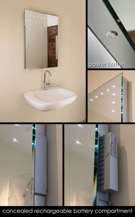 battery operated bathroom mirror lights re chargeable illuminated bathroom mirrors led bathroom