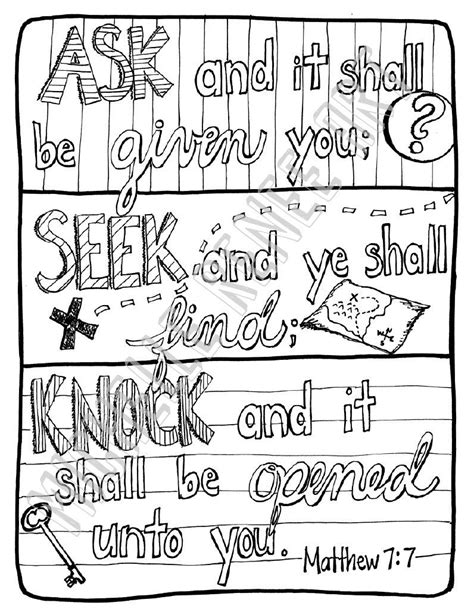Matthew 7 Coloring Pages by Bible Verse Coloring Page Matthew 7 7 Digital Instant