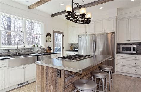 wood and stainless steel kitchen island how to apply a stainless steel surfaces in a rustic style kitchen