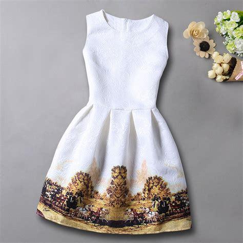 Dress Motif Mini Dress Flower Dress Summer Dress casual flowers print sleeveless dresses 2016 floral