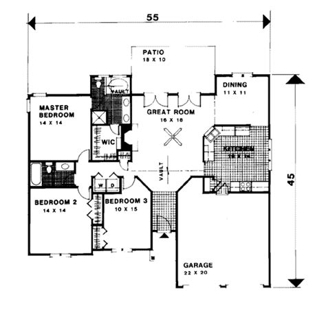 56 sq ft traditional style house plan 3 beds 2 baths 1500 sq ft