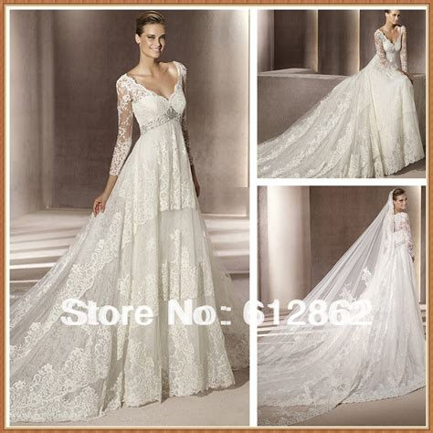 Aliexpress.com : Buy Long Train Empire Waist Long Sleeve Lace Wedding Dresses For Pregnant Women