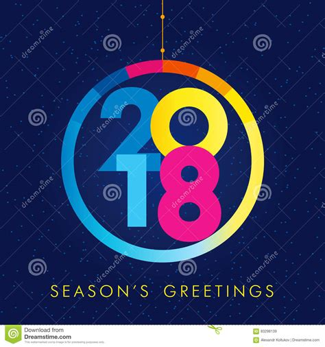 seasons greetings and new year 2018 e cards 2018 seasons greetings happy new year card vector cartoondealer 83298139
