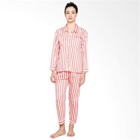 Setelan Baju Celana Tidur Panjang Piyama Wanita Katun Jepang Import jual zone sport milea stripes piyama setelan baju tidur wanita orange harga