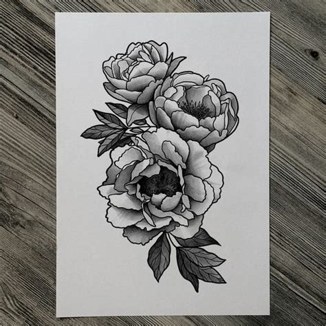 black and grey flower tattoo designs 18 peony designs