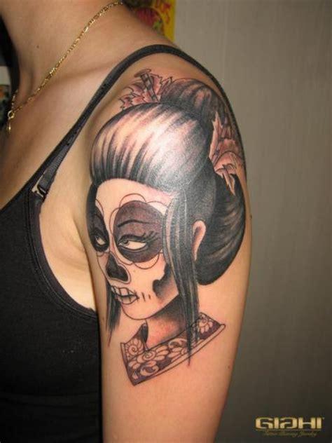 tattoo geisha skull shoulder mexican skull geisha tattoo by giahi