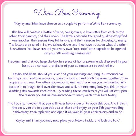 Wedding Vows Script by The Wine Box Ceremony Ceremony Details Grace And