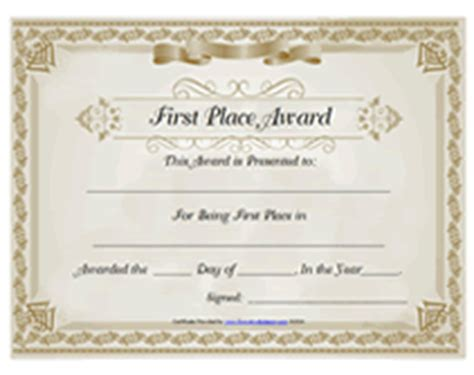 1st place certificate template 1st place award certificate pictures to pin on