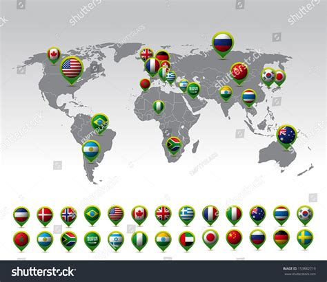 flags of the world map pins world map pins flags vector stock vector 153882719