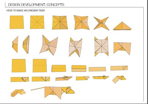 How To Make The Folded Paper - origami tiger diagram