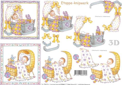 Baby Decoupage - baby in cradle designs 3d decoupage sheet