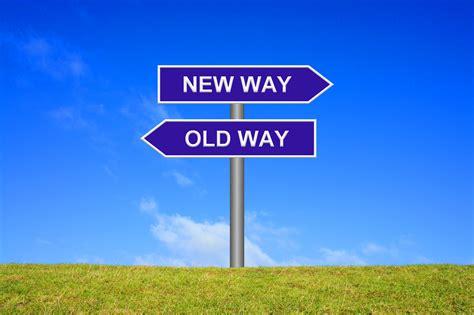Way Way   signpost showing new way old way charity ideas