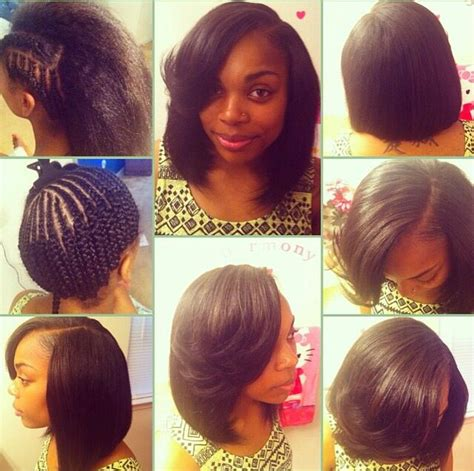 braiding short hair for sew in sew in short bob cool stuff for kisha pinterest bobs