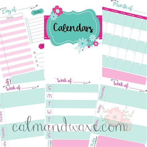 printable planner monthly view free calendar planner pages daily page weekly view