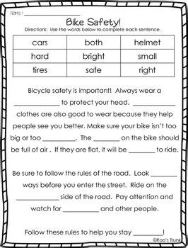 bike safety activity pack writing