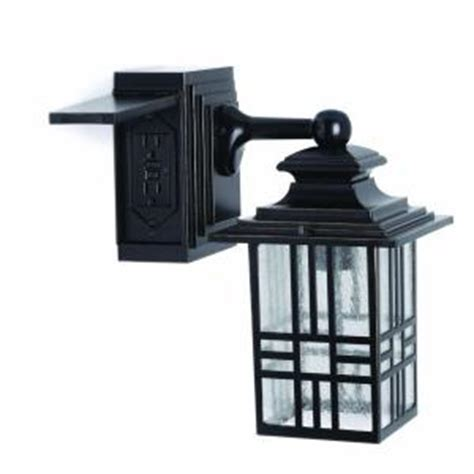 Outdoor Light With Power Outlet Hton Bay Mission Style Black With Bronze Outdoor