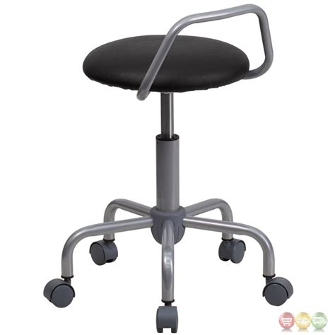 ergonomic low back black vinyl stool with silver powder coat