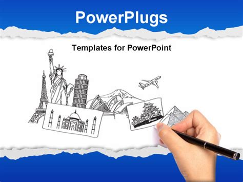 Powerpoint Template A Number Of Historic Buildings In The Drawing 10113 Powerpoint Travel Templates