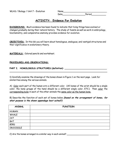 Evidence Of Evolution Worksheet Answers by 16 Best Images Of Evidence Of Evolution Worksheet Answers