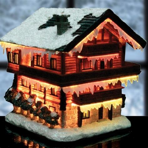 christmas snow village fiber optic house christmas