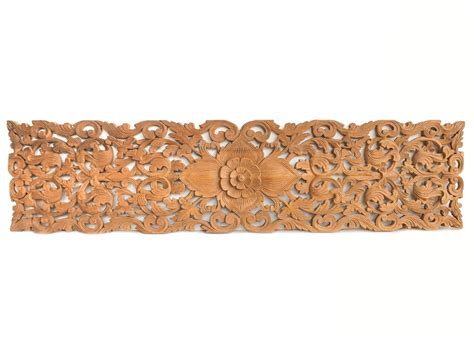 buy tropical floral carved wood bed headboard