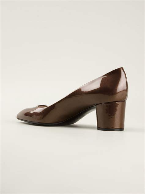 Soletopia Brown Low Heels casadei low chunky heel pumps in brown lyst