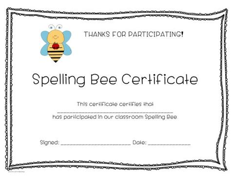 spelling bees and bee certificate on pinterest