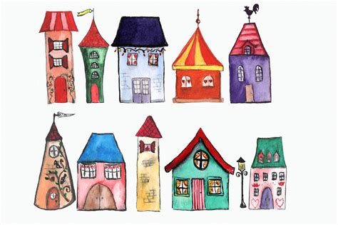 11 Watercolor Houses Clip Art ~ Objects ~ Creative Market