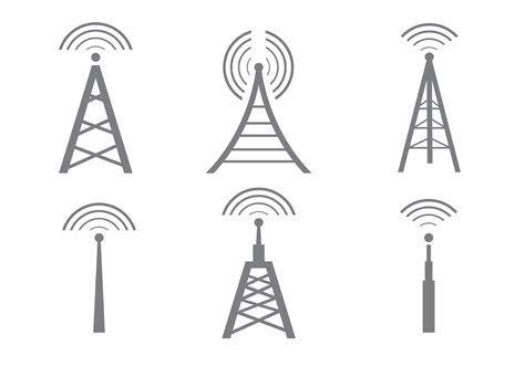 wireless mobile vector cell tower icons free vector stock