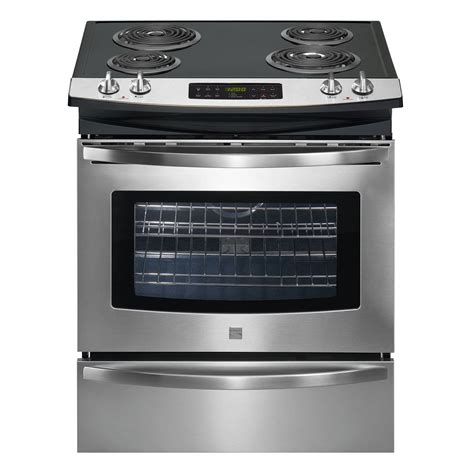 slide in range kenmore 46763 30 quot self clean slide in electric range w deluxe coil elements sears outlet