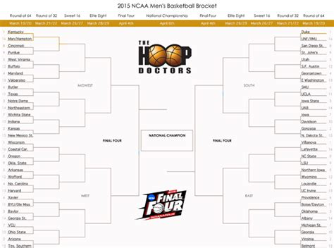 printable version ncaa bracket 2015 printable 2015 ncaa march madness bracket with teams pdf
