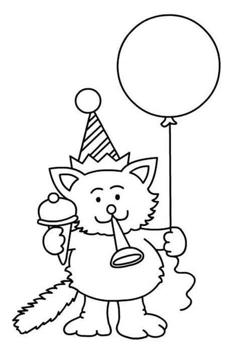 happy birthday cat coloring page free coloring pages of happy cat